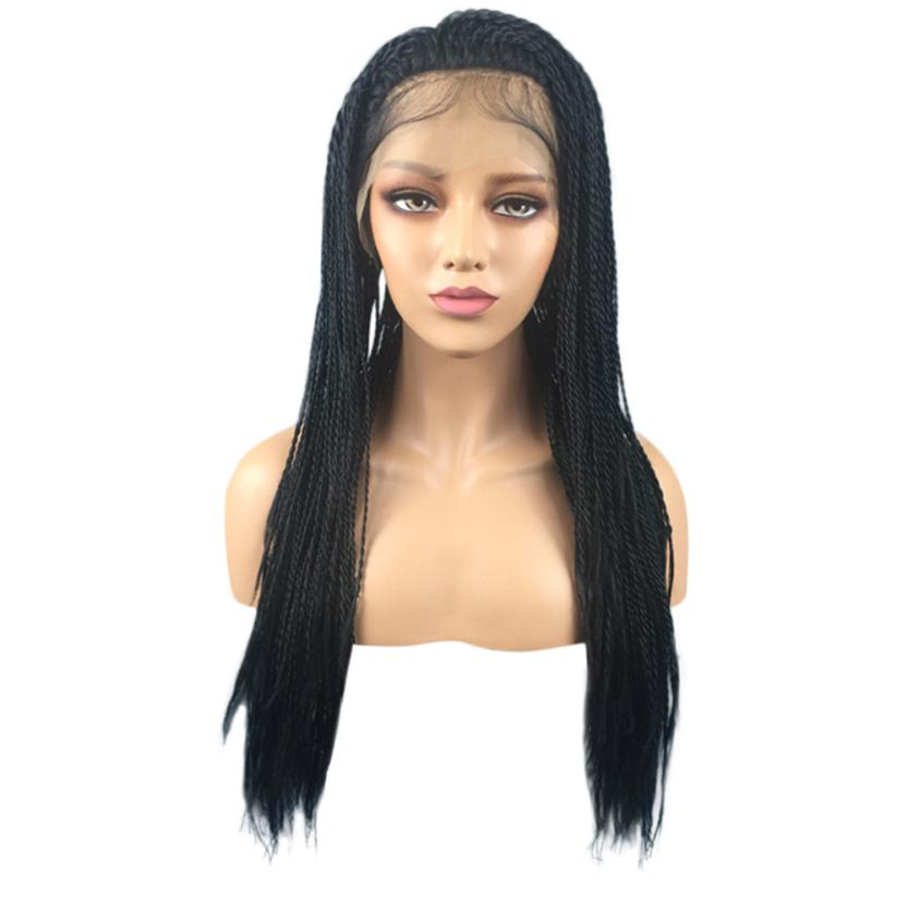 Women Synthetic Hair Braided Lace Front Wig Long Black Ombre Braid Wigs curly human hair wig 0621 long side bang slightly curly lace front synthetic wig