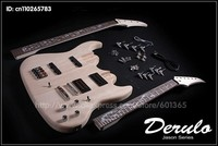 DIY Double Neck Electric Guitar and Bass Kit Solid Mahogany Flame Inlay
