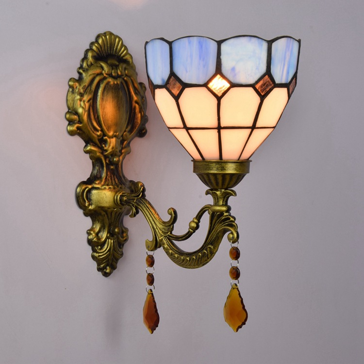 Tiffany blue Mediterranean bedroom bedside lamp double European corridor room wall lampTiffany blue Mediterranean bedroom bedside lamp double European corridor room wall lamp