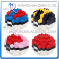 Full Set 4pcs/lot Mini Qute PF kawaii kids Anime cartoon pokemon pokeball plastic building blocks brick model educational toy