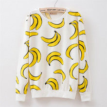 New 2017 autumn style Hoodies women Banana print women s o neck tracksuits Hoodies harajuku women