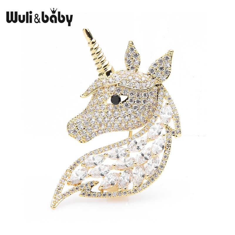 Wuli Bayi Mewah Unicorn Kepala Bros Wanita Pria Zircon Kuda Hewan Bros Pin Hadiah