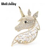 Wuli&baby Luxury Unicorn Head Brooches Women Men Zircon Horse Animal Brooch Pins Gifts цена 2017