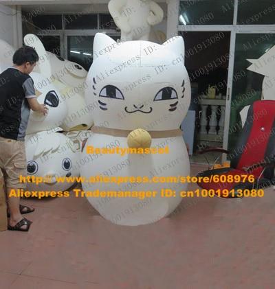 Attractive White Lucky Cat Maneki Neko Money Fortune Cat Kitten Mascot Costume Cartoon Character Mascotte Adult & Attractive White Lucky Cat Maneki Neko Money Fortune Cat Kitten ...