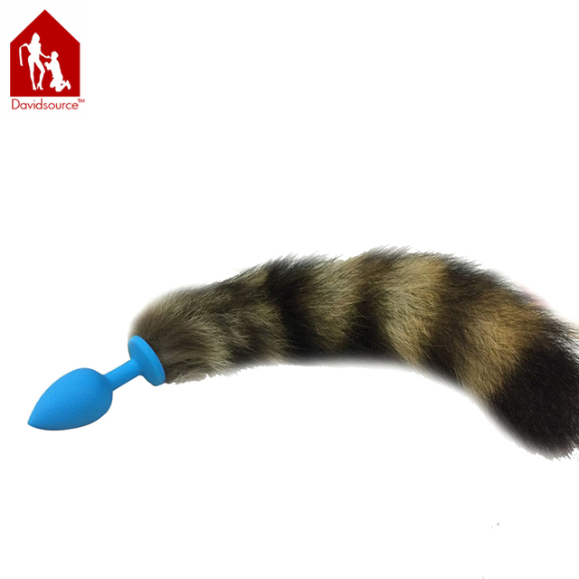Davidsource Blue Fox Tail Butt Plug 74mm Long 30mm Silicone Anus Anal Sex Toy Sex Flirty Backyard Fetish Unisex Sex Toy