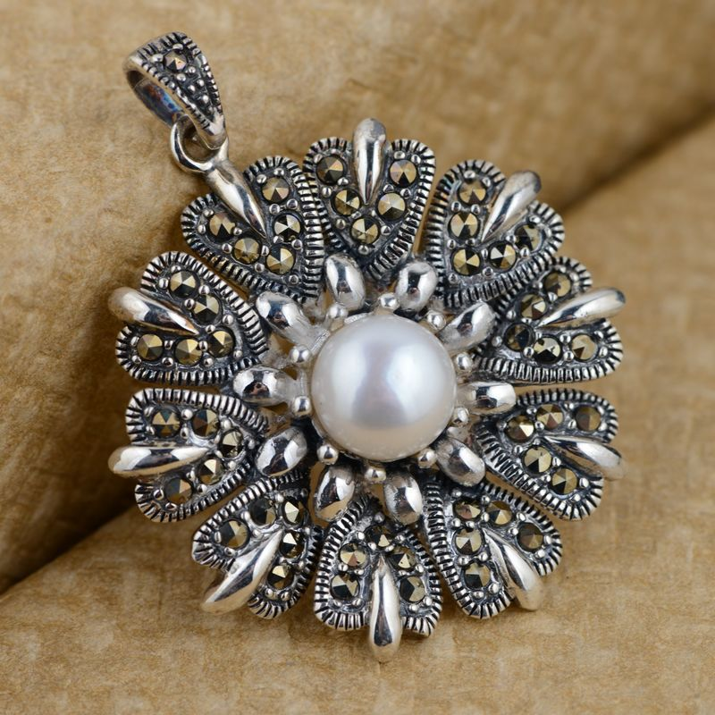 Thai silver pendant S925 silver inlaid antique pearl wholesale import process female air Pendant s925 sterling silver inlaid natural stone thai silver beautiful burning blue brooch female pendant new products