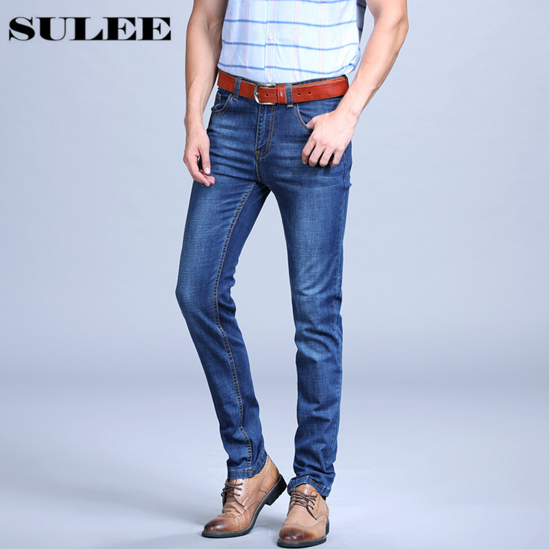 Sulee Brand 2017 Spring And Summer New High-quality Cotton Fashion Slim Straight Jeans Males