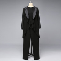 Black Chiffon Mother Of The Bride Dresses 2018 with Jacket Satin Collar Real Photo Plus Size 3 Piece Wedding Party Guest Wear