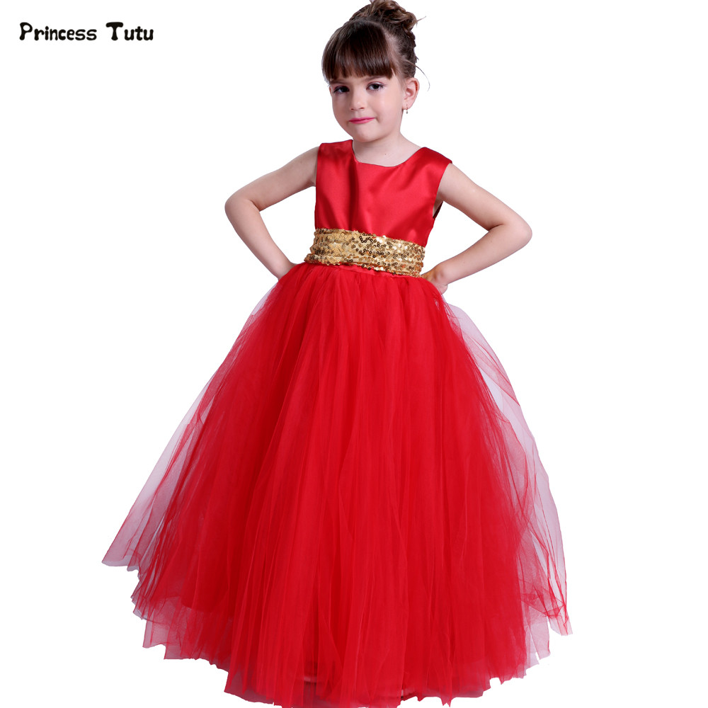 Custom Girls Princess Dress Red Tulle Flower Girl Dresses With Sequins Sash Pageant Wedding Ball Gown Kids Girl Party Tutu Dress