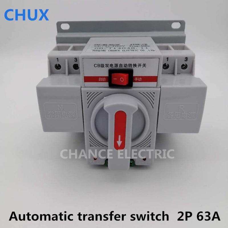 2 p 63A 230 v MCB type Double Pouvoir commutateur de transfert Automatique ATS blanc couleur Circuit Disjoncteur