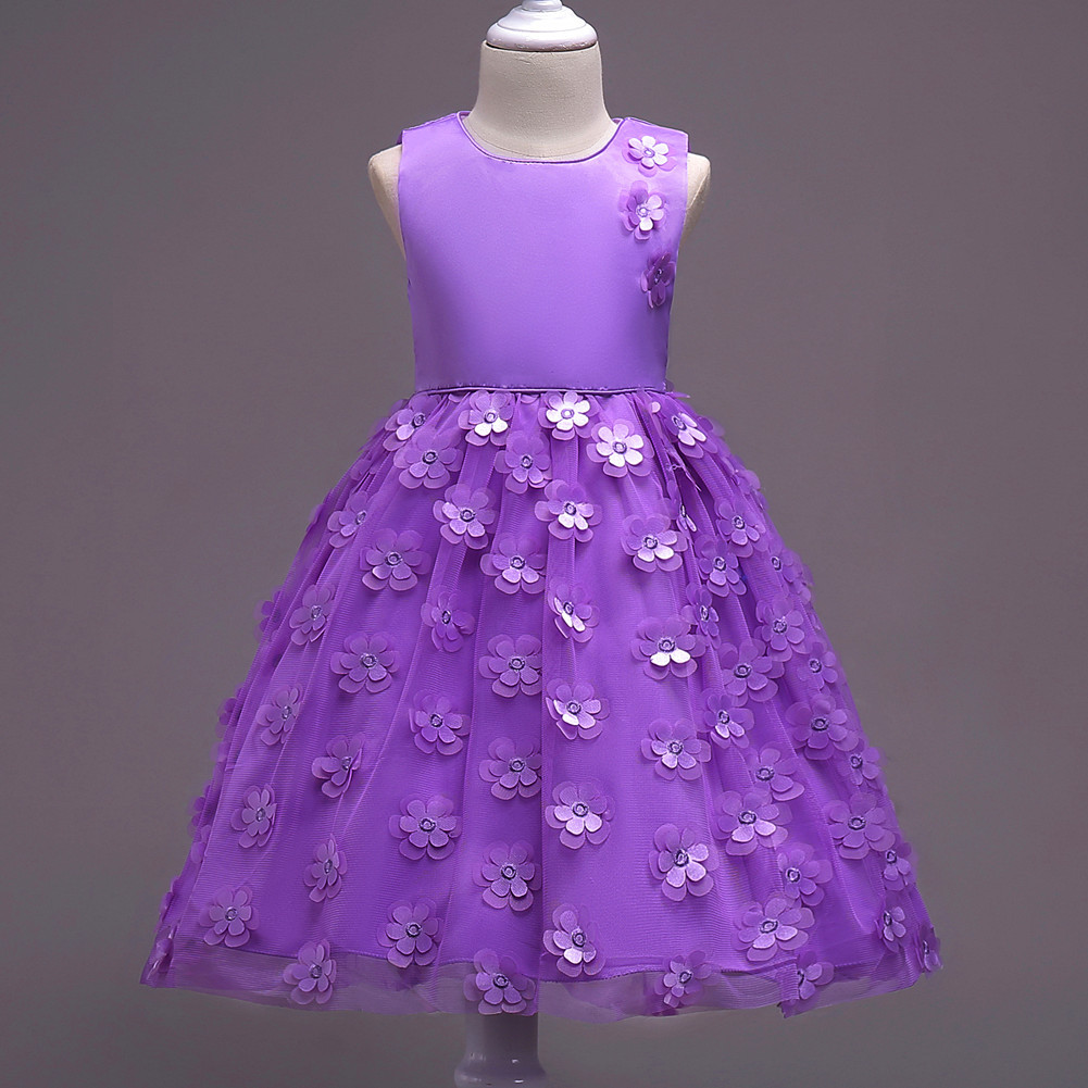 5 Colors Flower Princess Dresses for Girls Infant Kids Summer Sleeveless Bow Costume Party Dress for Teenager Girl 3-7 Years Old retail new girl flower dress child princess gauze dress summer summer costume 7 colors free shipping 5031