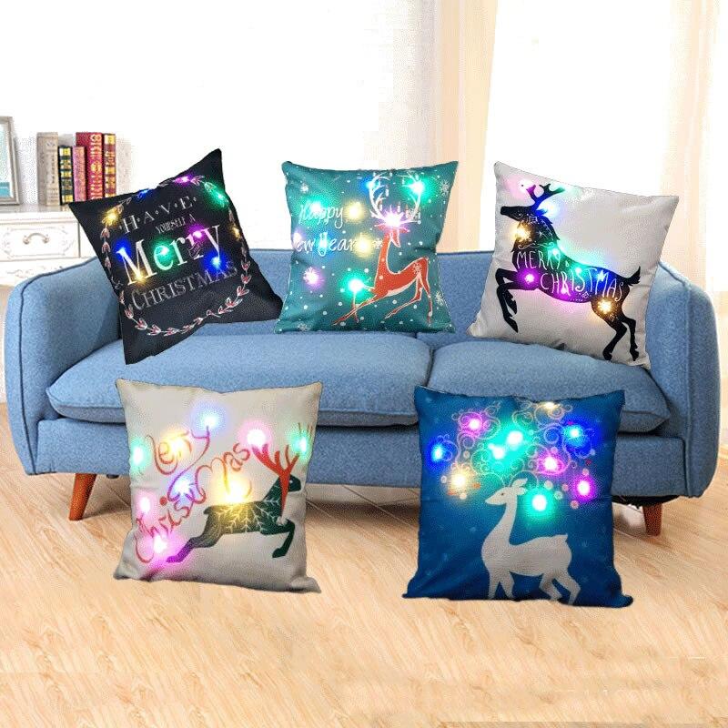 45*45cm LED Pillowcase Flax Cushion Cover Throw Xmas Merry Christmas Pillowcase Christmas Decorations For Home 2O17 F