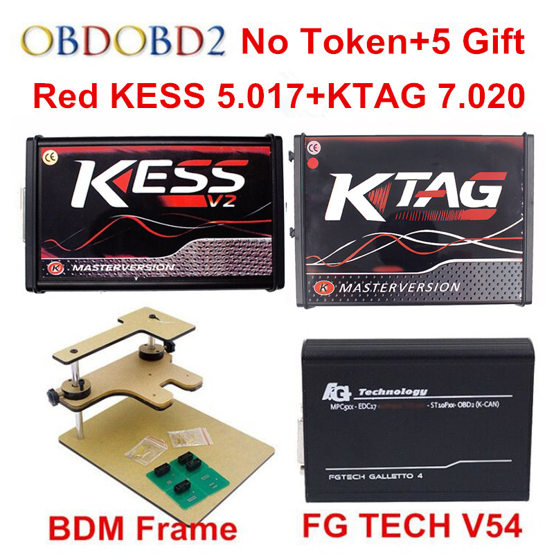 Online Master KESS V5.017 V2.47 + KTAG V7.020 V2.23 +FG TECH V54 0475 + BDM FRAME No Tokens K-TAG ECU Programmer DHL Free