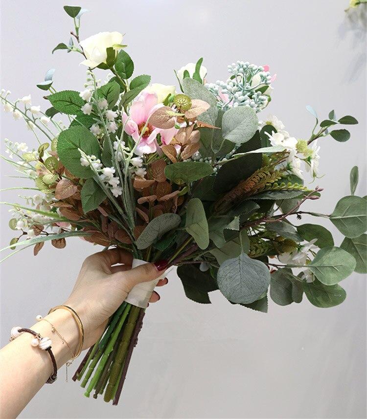 JaneVini élégant Rose Bouquets de mariage nuptiale tenant fleur vraie touche artificielle soie Rose mariée accessoires Ramo Flores Novia - 5