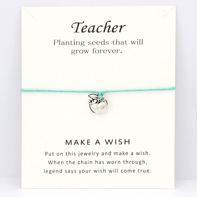 Teacher Teach Apple Bracelets Antique Silver Graduation Charm Card Bracelets Card Women Men Trendy Fashion Jewelry Gift