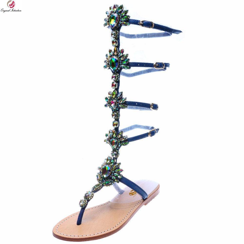 Original Intention New Popular Women Sandals Fashion Rhinestone Open Toe Flats Elegant Blue Gold Shoes Woman Plus US Size 3-15
