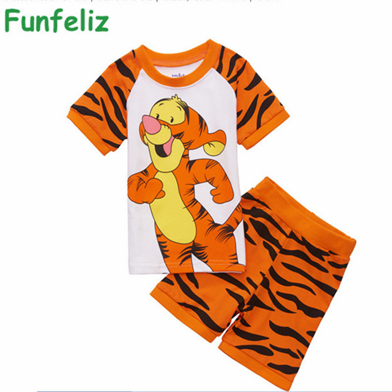 Boys summer Clothes Cartoon Tiger boy clothing set 2016 Summer Cotton Boys Pajamas set Cute Boy Pijama clothes 2T-7T