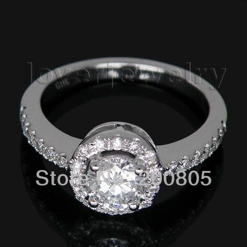 Необычный 0.48CT винтажное твердое 18Kt белое золото натуральный бриллиант обручальное кольцо