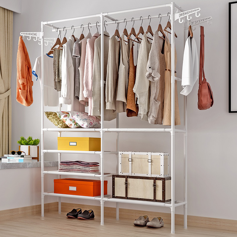 Simple Fashion Large Capacity Coat Rack Multifunctional Bedroom Wardrobe Storage Shelves Indoor Drying Rack Home Clothes