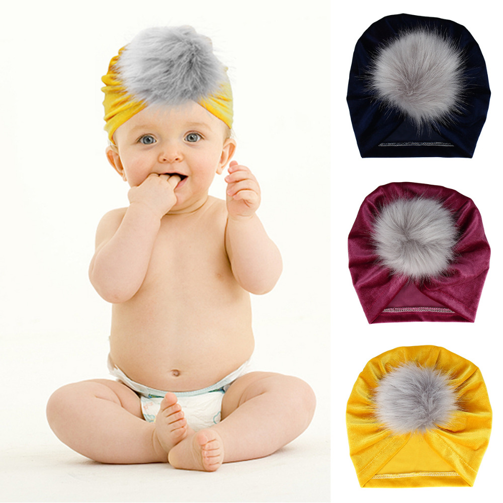 Childrens Gold Velvet Material Hair Ball Cap Baby Shooting Holiday Hat 2019 Autumn And Winter New Warm Hat Hats & Caps Accessories