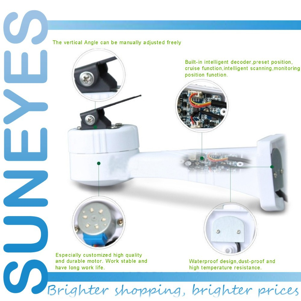 SunEyes PTZ Bracket for CCTV IP Camera or (Only Support Pan Rotation Electrical Rotating)RS485 Connection Waterproof Outdoor r0016 2pcs lot long u shaped bracket standard servo bracket ptz pan tilt bracket 2 color smart car robot accessories