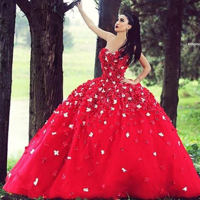 Red Ball Gown Evening Dresses 2016 Sweetheart Appliques Formal Gowns ...