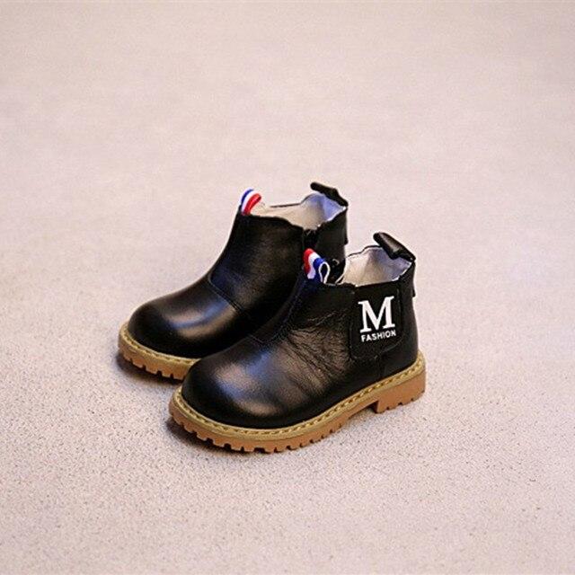 WENDYWU осенние мальчики бренд коричневые ботинки для детей натуральная кожа shoes новорожденных девочек мода ботильоны детей черные сапоги