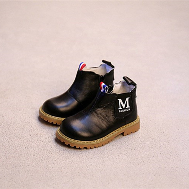 WENDYWU autumn boys brand brown boots for kids genuine leather shoes baby girls fashion ankle boots children black boots