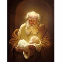 High quality Hand Painted Simeon with Jesus oil painting on Canvens painting modern living room Home Decoration Fine Art