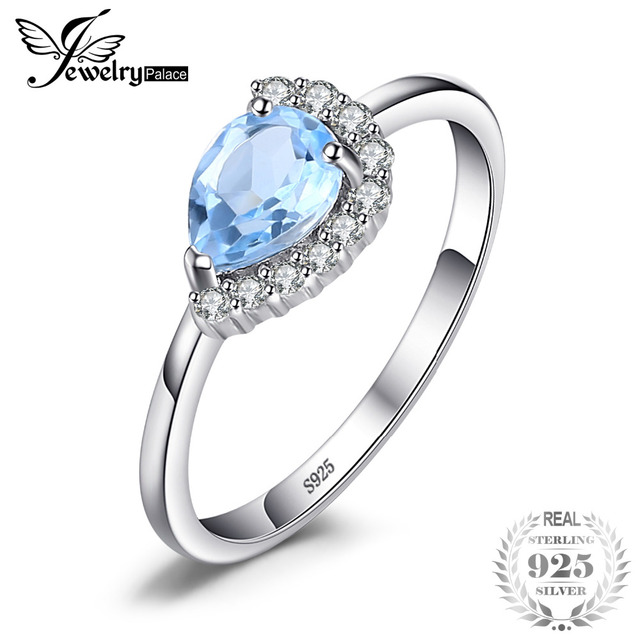 JewelryPalace Luxury Brand 2.53ct Water Drop Natural Sky Blue Topaz Ring Real 92