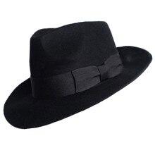 New 100% Woolen Hat Australian Wool 1:1 Michael Jackson Concert Dance Fedoras Classic Black Wide Brim Jazz Gentleman Hats