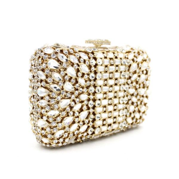 gold Evening College Students Clutch Bag Crystal Diamond Evening Bag Wedding Purse wallet soiree pochette Evening Clutch Bag faux crystal mosaic clutch evening bag