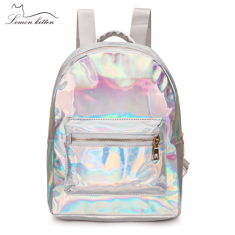 2019 Backpack New Women Backpack Mini Travel Bags Silver Laser Backpack Women Girls Shoulder Bag PU Leather Holographic Backpack(China)