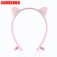 Foldable Wireless Bluetooth Cat Ear Headphone Hair Band Stereo Earphone With Mic Flashing Glowing Headphones Bluetooth