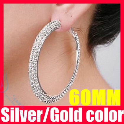 2 Colors 60mm Crystal Hoop Earrings Double Rows Basketball Wives Large F1