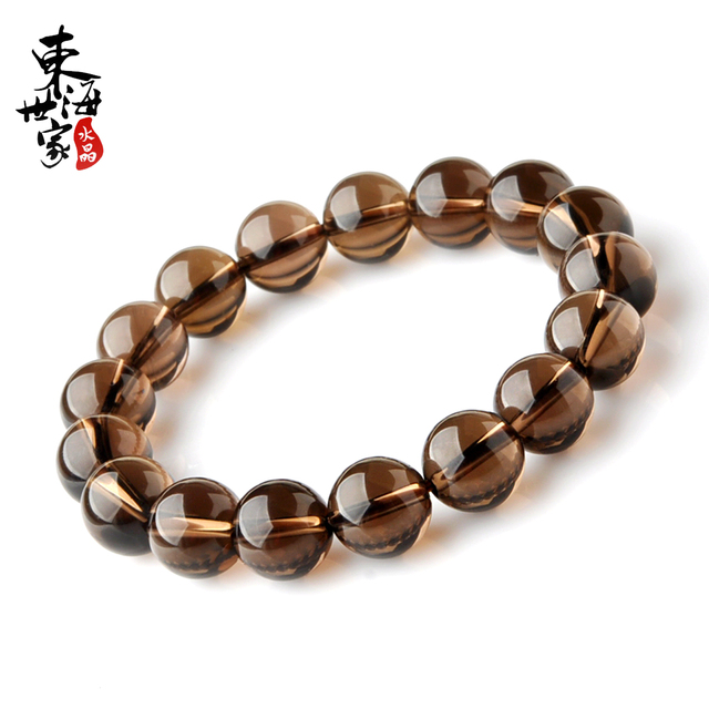 Healing Crystals Smoky Quartz Bracelet Feng Shui Lemurian Beads Free Shipping