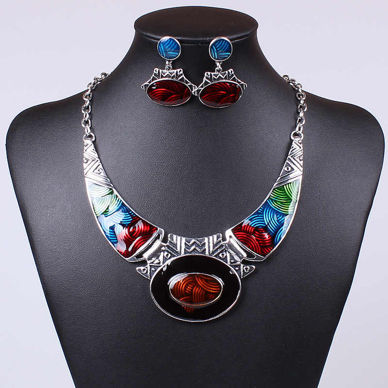 New Fashion Antique Vintage Enamel Jewelry Sets Geometric Necklace Set Earrings for Women Nickel Free Collares Grandes