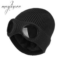 Maylisacc 3 цвета зимняя вязаная шапка теплые шапочки Skullies лыжный Кепки с Съемные очки для Для женщин Для мужчин Спорт на открытом воздухе Кепки