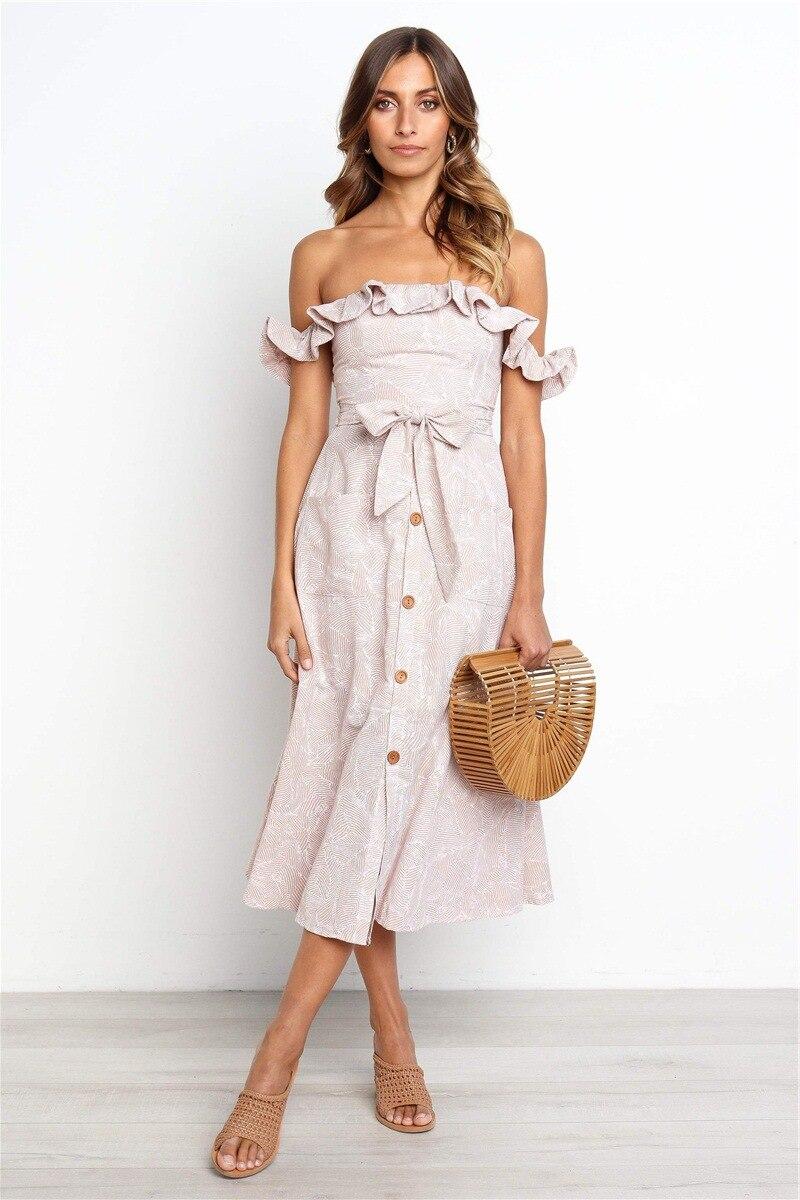 Backless Sexy Women Summer Dress 19 Ruffles Off Shoulder Beach Dress Buttons Strapless Long Sundress Boho Midi Dress Ladies 5