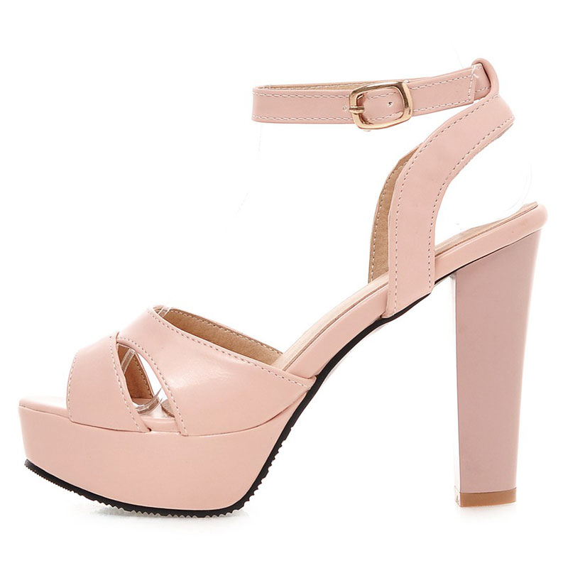 bfb8753c85f9 ... Fanyuan Women 32 45 Elegant Platform Women High Heels Color Sandals  Shoes New Chunky Size Simple ...