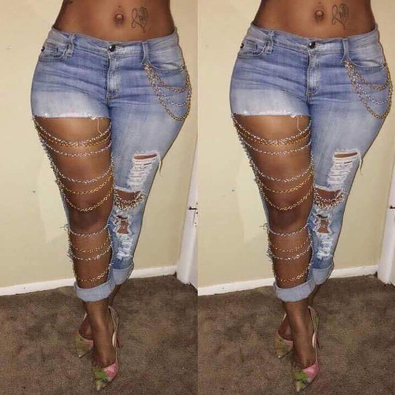 Fashion Women Lady Pants Jeans Hole Destroyed Ripped Distressed Chain Denim Pants Boyfriend ...