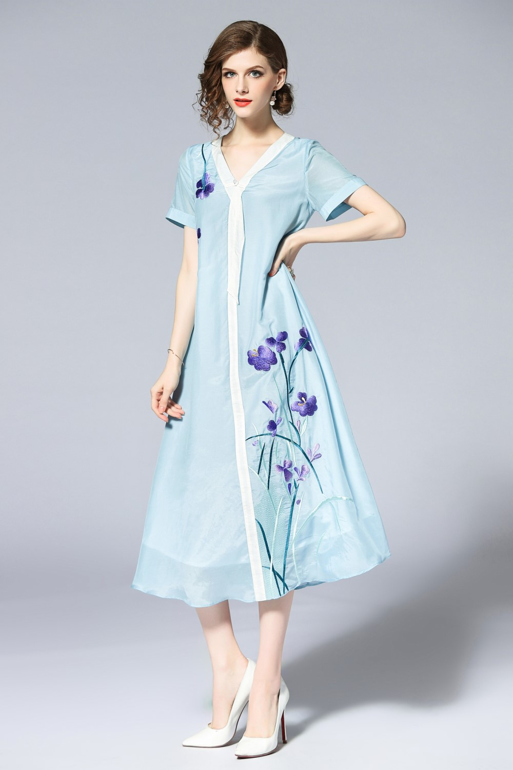 Free shipping Summer original design A Version Chinese style Hit color flower Embroidered big size dress for women - 3
