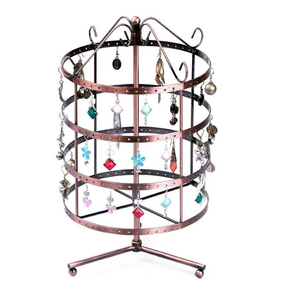 HIPSTEEN 144-holes Four-layer Alloy Earrings Show Rack Round Rotatable Ornaments Holder Display Rack