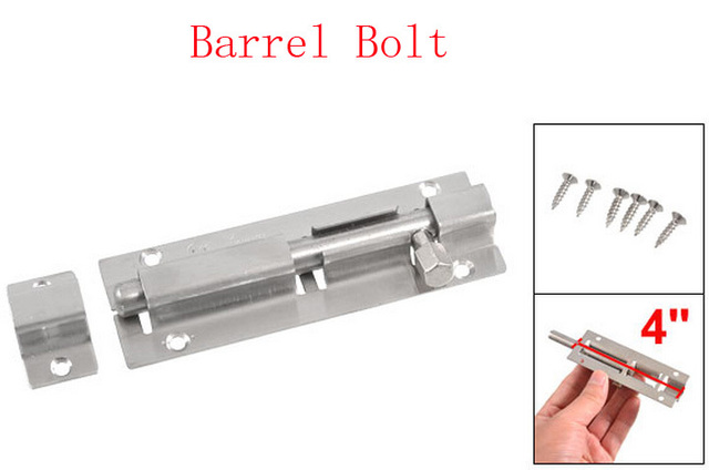4 Stainless Steel Slide Barrel Bolt Door Gate Interior Lock W 6