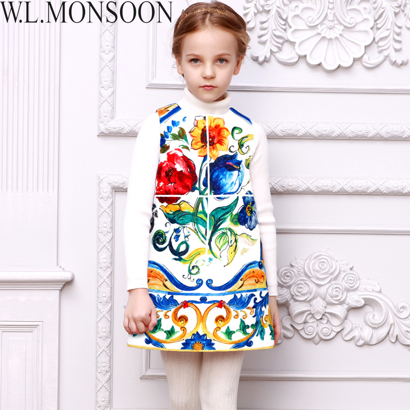 Girls Winter Dress 2016 Brand Children Dress Princess Costume Girls Clothes Kids Dress Majolica Print Dobby Baby Girls Dresses