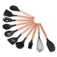 Premium Silicone Kitchen Utensils 10 Piece Cooking Utensils Set with Bamboo Wood Handles for Nonstick Cookware