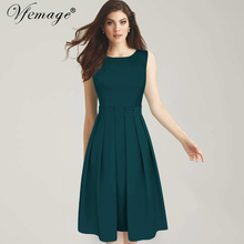 Vfemage Women Celebrity Elegant Round Neck Sleeveless Tunic Vintage Wear To Work Business Casual Party A-line Dress 6431