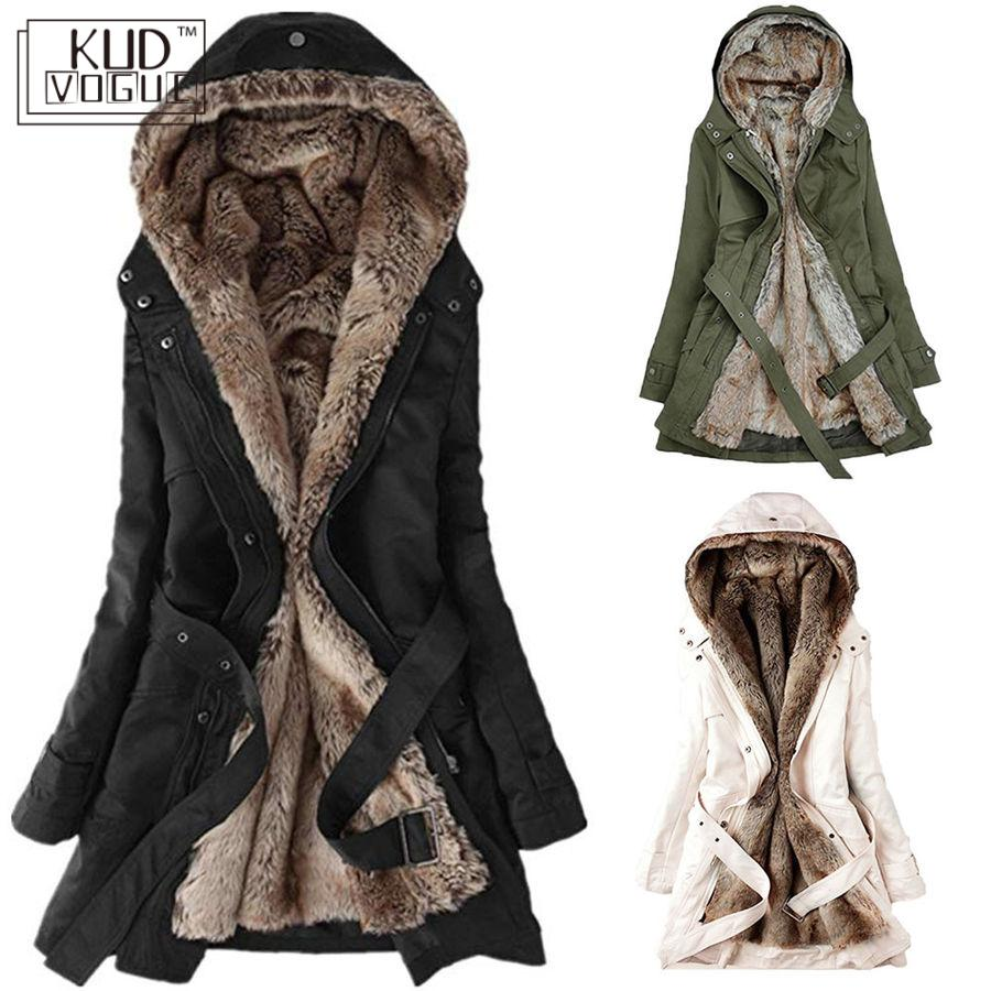 Ladies Fur Lining Coat Womens Winter Warm Thick Long Jacket Hooded Parka 2020 US