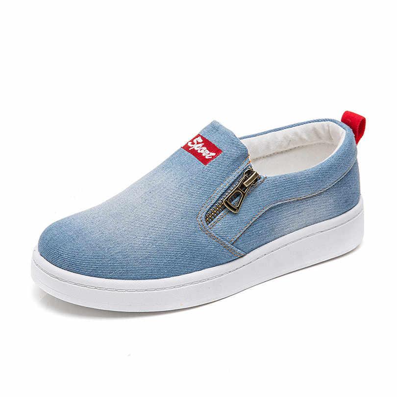 LIN KING ใหม่แฟชั่นผู้หญิงรองเท้าผ้าใบ Denim รองเท้าขนาดรองเท้านอกรองเท้า Anti Skid Woman รองเท้าผ้าใบกลางแจ้ง