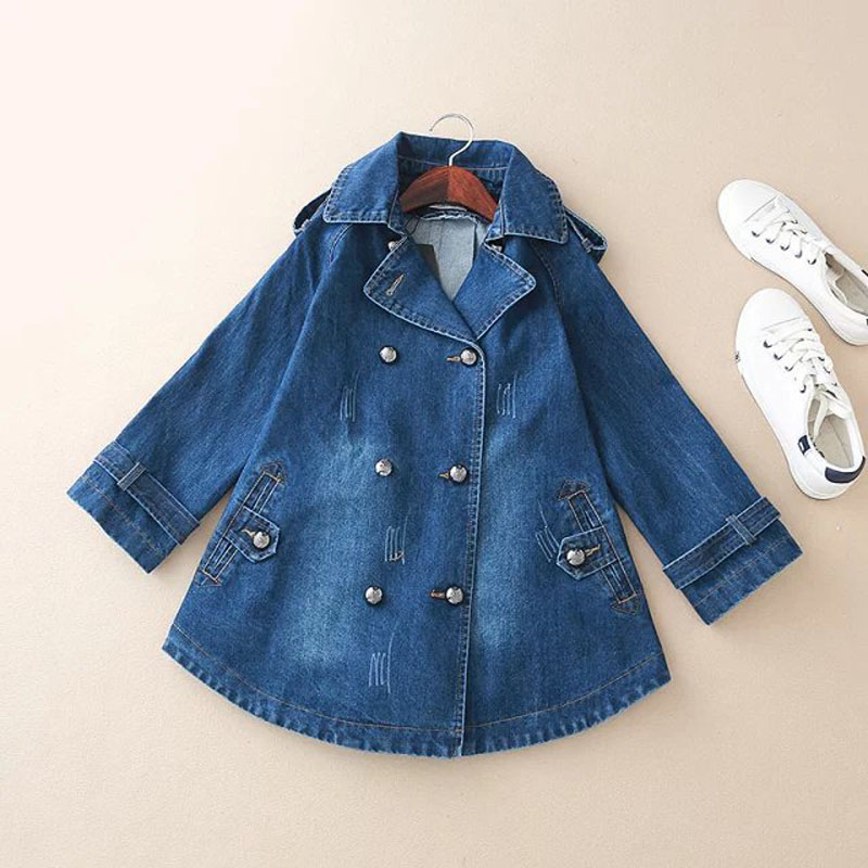 Fs0157 Blue Women Dress Jacket Coat Jeans Denim Double Winter 4 Basic Blue 3 Sleeve Breasted Fashion sky Autumn Long 1ZaWI